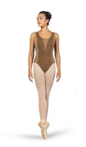 BLOCH Ladies Dance Tank Style Open Back Leotard Esrah L4955 Praline